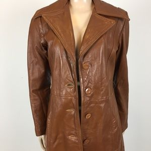 Vintage 70's Brown Leather Trench Coat XS Duster